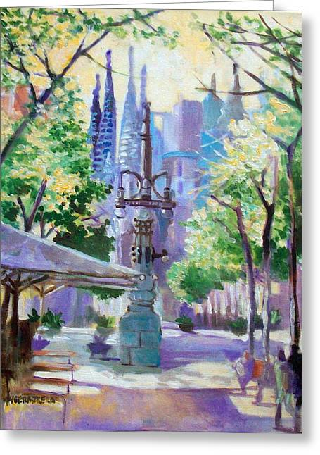 Greeting Card featuring the painting Sagarda Familia Barcelona by Paul Weerasekera