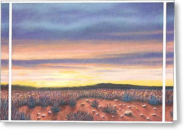 Sagebrush Sunset Triptych Greeting Card