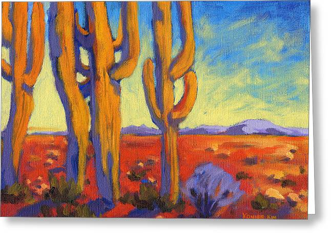 Greeting Card featuring the painting Desert Keepers by Konnie Kim