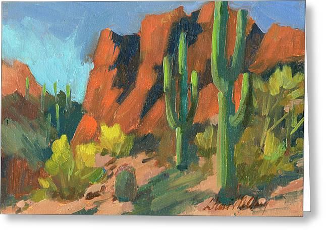 Desert Lake Paintings Greeting Cards - Saguaro Cactus 1 Greeting Card by Diane McClary