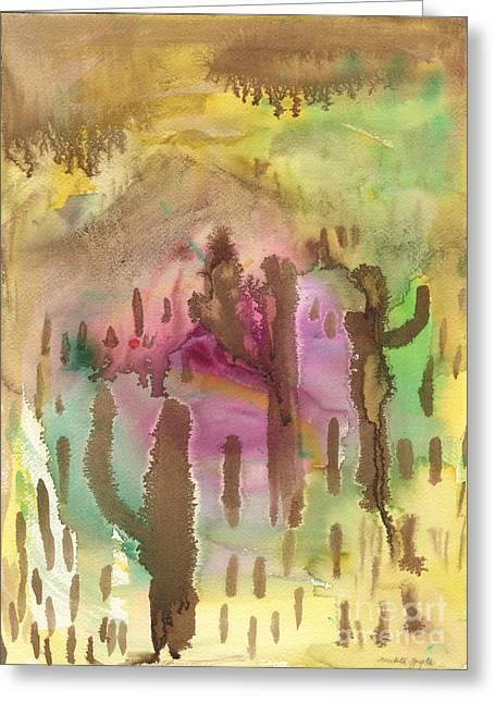Greeting Card featuring the painting Saguaro Desert by Mukta Gupta