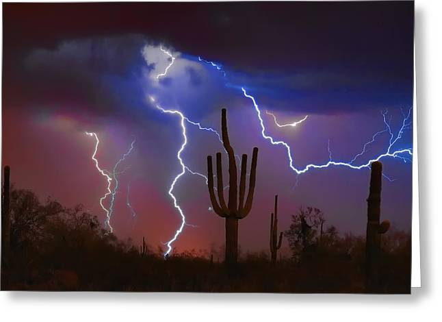 Saguaro Lightning Nature Fine Art Photograph Greeting Card
