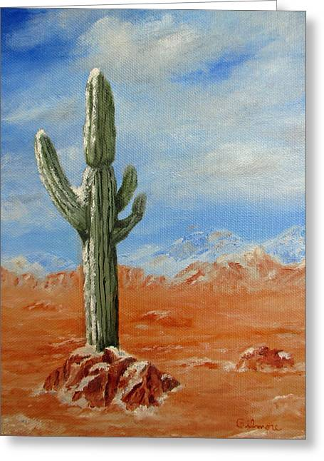 Saguaro In Snow Greeting Card by Roseann Gilmore