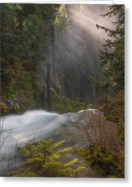 Sahalie Falls Mist Greeting Card