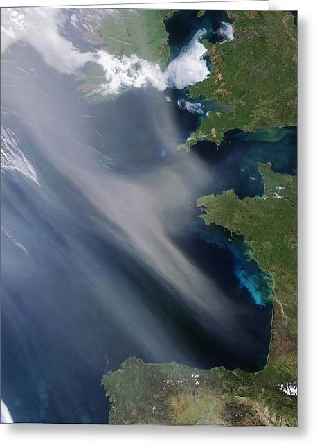 Saharan Dust Plume, Bay Of Biscay Greeting Card by Science Photo Library