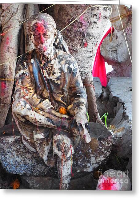 Sai Baba - Resting At Pushkar Greeting Card by Agnieszka Ledwon