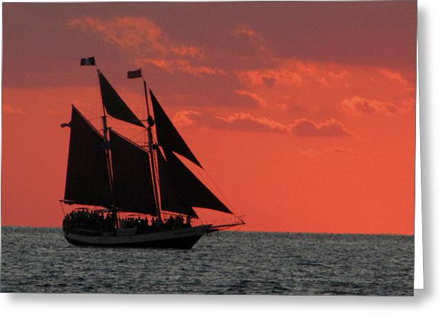 Key West Sunset Sail 5 Greeting Card by Bob Slitzan