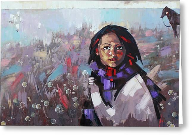 Greeting Card featuring the painting Sail  by Anastasija Kraineva