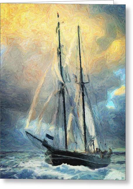 Sail Away To Avalon Greeting Card by Taylan Apukovska