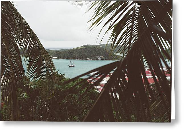 Sail Boat In The Harbor Greeting Card
