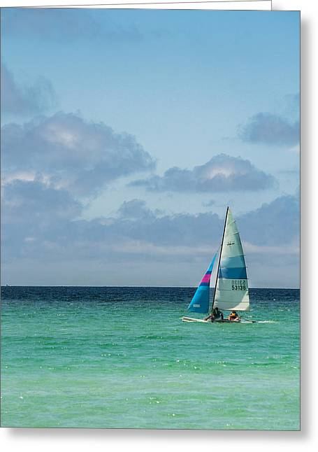 Sail Boat On The Ocean Greeting Card by Shelby  Young