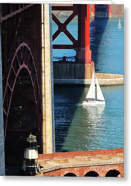 Sail Boat Passes Beneath The Golden Gate Bridge Greeting Card