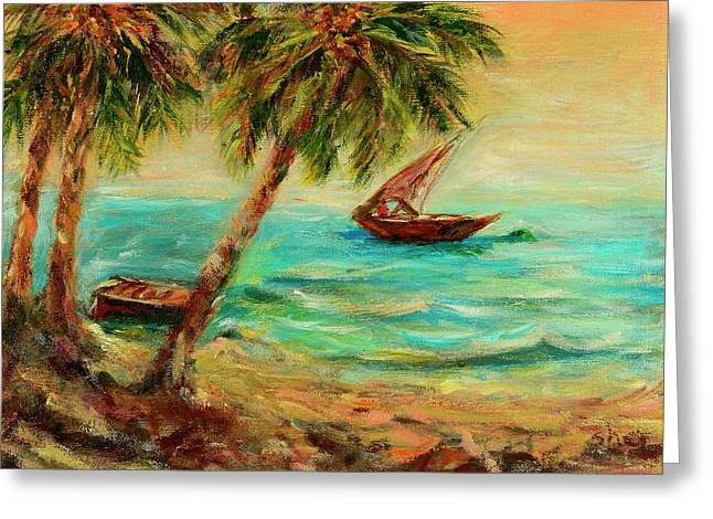 Greeting Card featuring the painting Sail Boats On Indian Ocean  by Sher Nasser