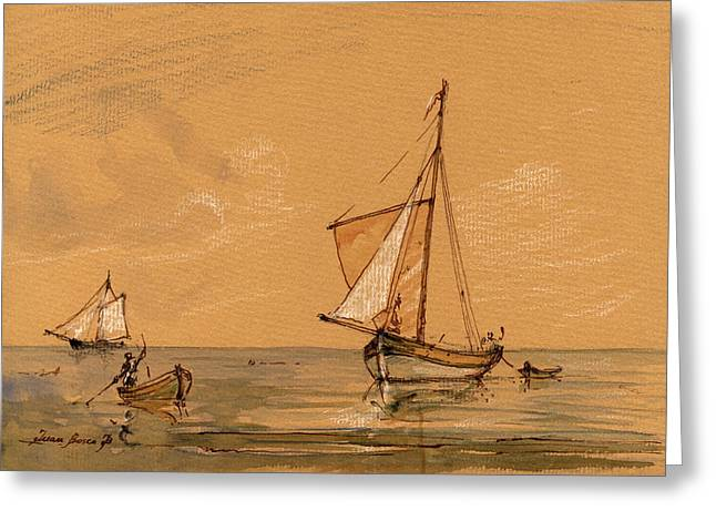 Sail Ship Greeting Card by Juan  Bosco