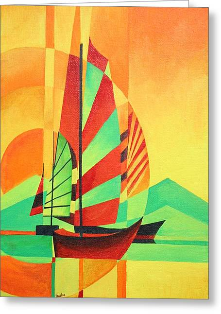 Greeting Card featuring the painting Sail To Shore by Tracey Harrington-Simpson