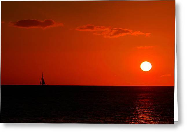 Sail To The Sunset Greeting Card by Tin Lung Chao