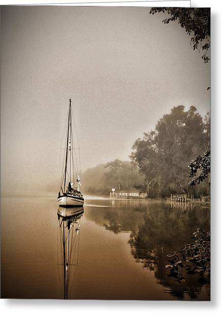 Sailbaot In The Fog Greeting Card
