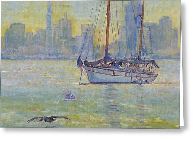 Sailboat Anchored At Sunset Greeting Card by Dominique Amendola