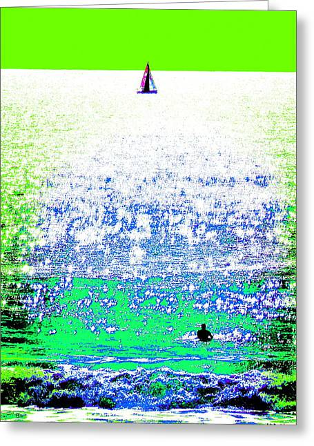 Sailboat And Swimmer -- 2b Greeting Card by Brian D Meredith