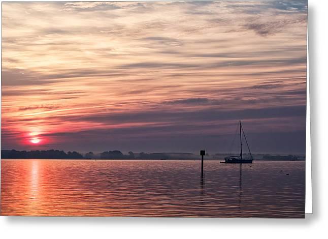 Sailboat At Dawn Greeting Card