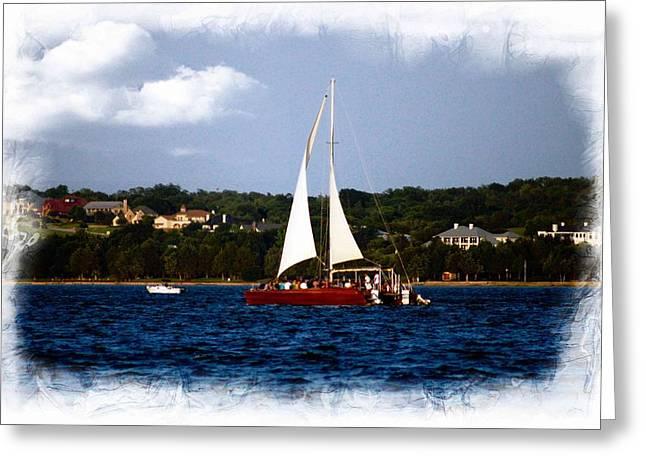 Greeting Card featuring the photograph Sailboat At Lake Ray Hubbard by Kathy Churchman