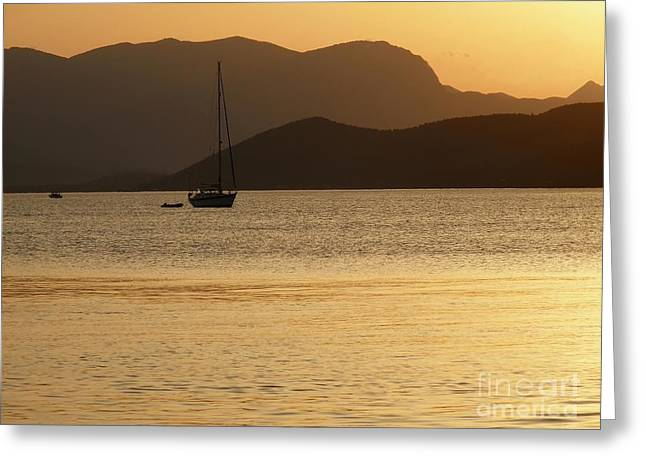 Sailboat At Sunset Greeting Card by Sophie Vigneault