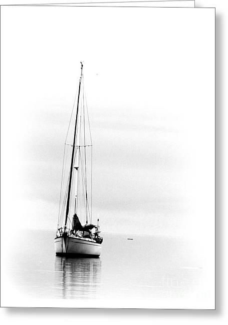 Sailboat Bw Too Greeting Card
