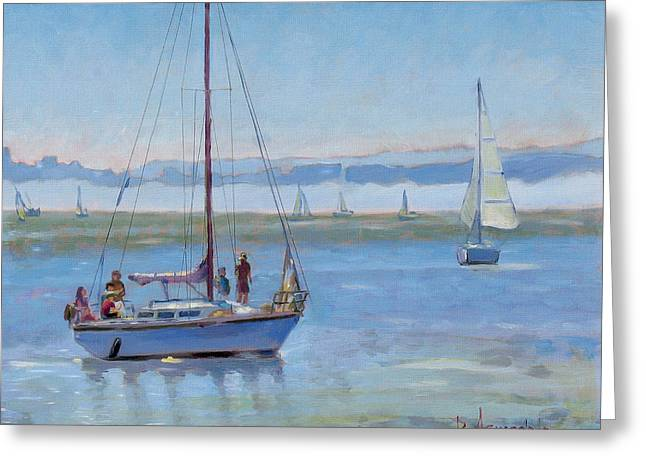 Sailboat Coming To Port Greeting Card by Dominique Amendola
