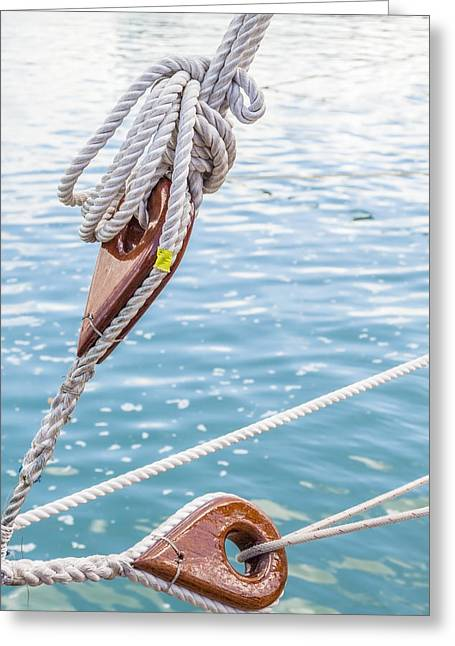 Greeting Card featuring the photograph Sailboat Deadeyes 1 by Leigh Anne Meeks
