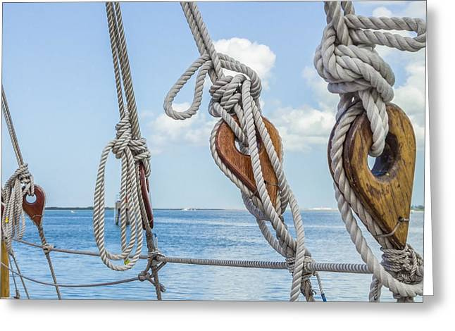 Greeting Card featuring the photograph Sailboat Deadeyes 2 by Leigh Anne Meeks