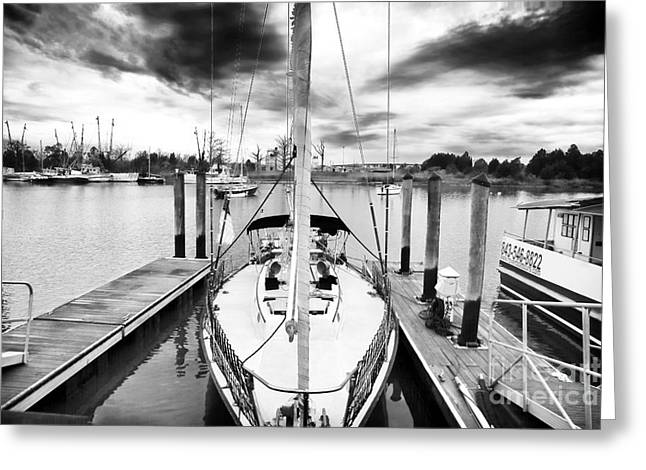Sailboat Docked Greeting Card by John Rizzuto