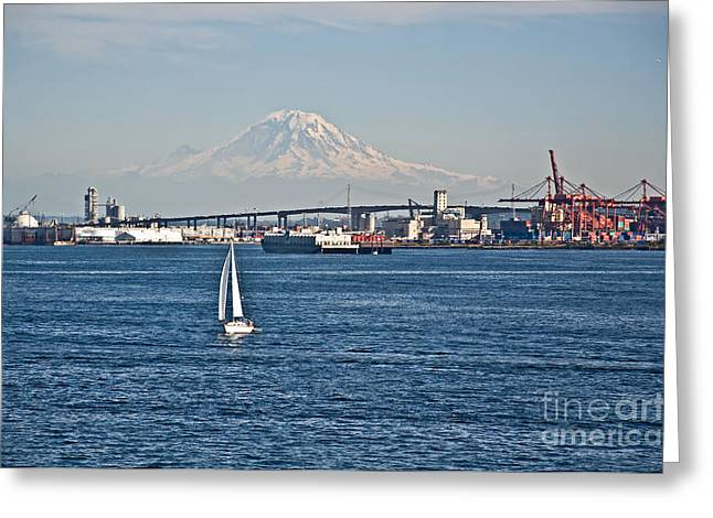 Sailboat Foreground Mt Rainier Washington Landscape Greeting Card