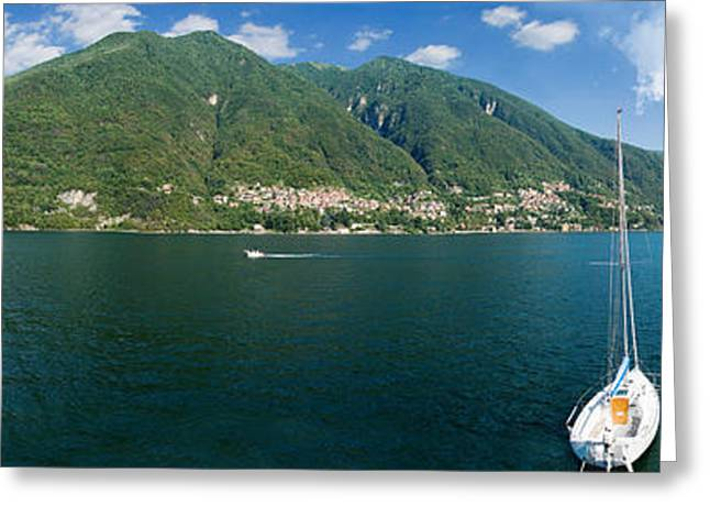 Sailboat In A Lake, Lake Como, Como Greeting Card by Panoramic Images