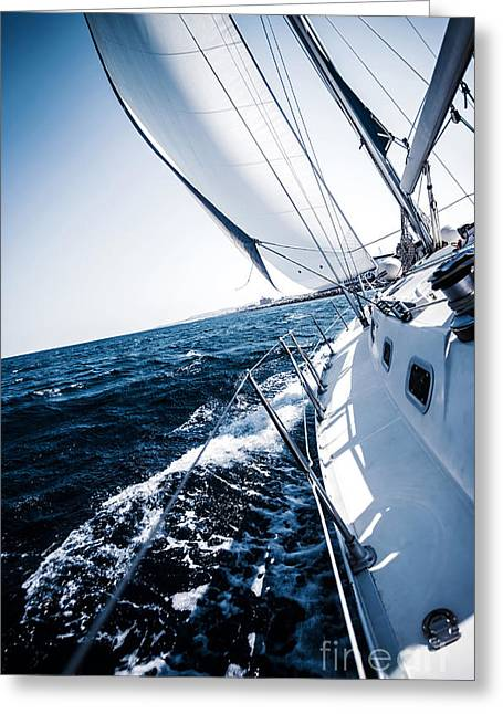 Sailboat In Action Greeting Card