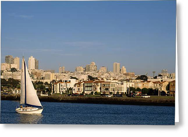 Sailboat In An Ocean, Marina District Greeting Card by Panoramic Images