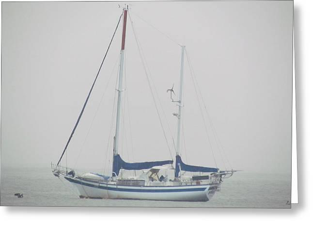 Sailboat In Fog Greeting Card