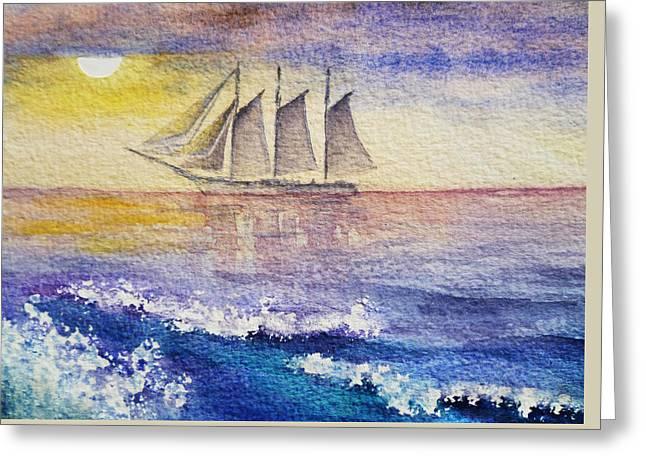 Sailboat In The Ocean Greeting Card by Irina Sztukowski