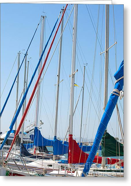Sailboat Masts Greeting Card by Artist and Photographer Laura Wrede
