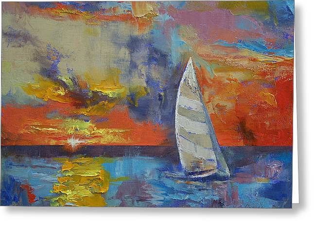 Sailboat Greeting Card by Michael Creese