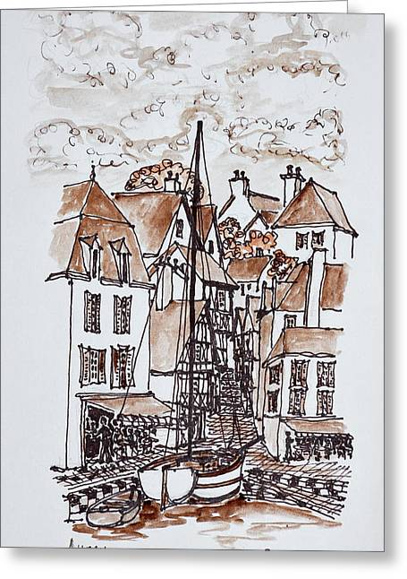 Sailboat Moored In Saint-goustan Port Greeting Card