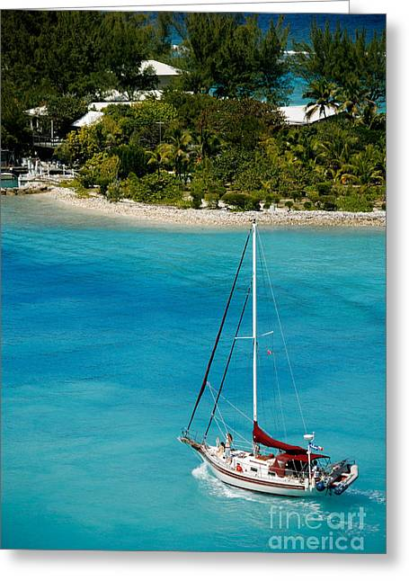 Sailboat On Azure Waters Nassau Bahamas Greeting Card by Amy Cicconi