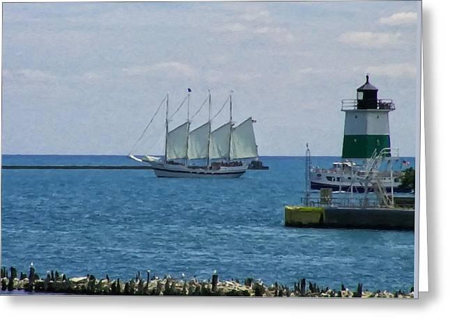 sailboat on Lake Michigan Greeting Card