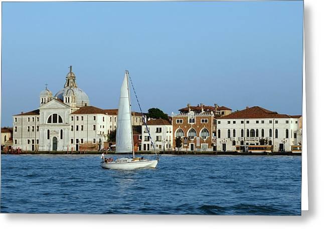 Sailboat On The Giudecca Greeting Card by Bishopston Fine Art