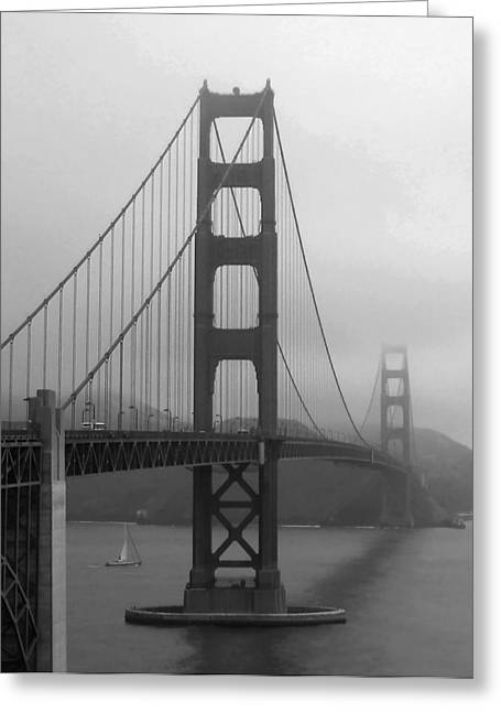 Sailboat Passing Under Golden Gate Bridge Greeting Card by Connie Fox