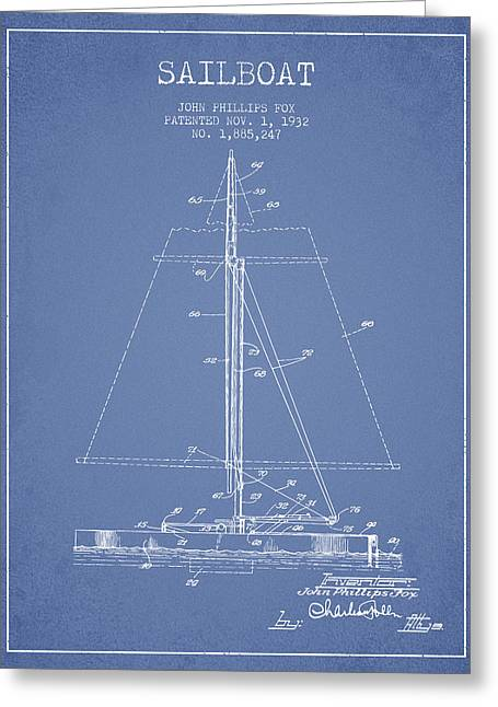 Sailboat Patent From 1932 - Light Blue Greeting Card by Aged Pixel