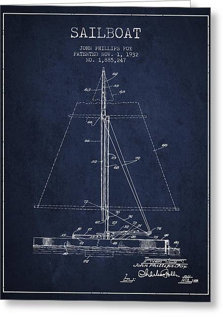 Sailboat Patent From 1932 - Navy Blue Greeting Card by Aged Pixel
