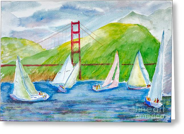 Sailboat Race At The Golden Gate Greeting Card