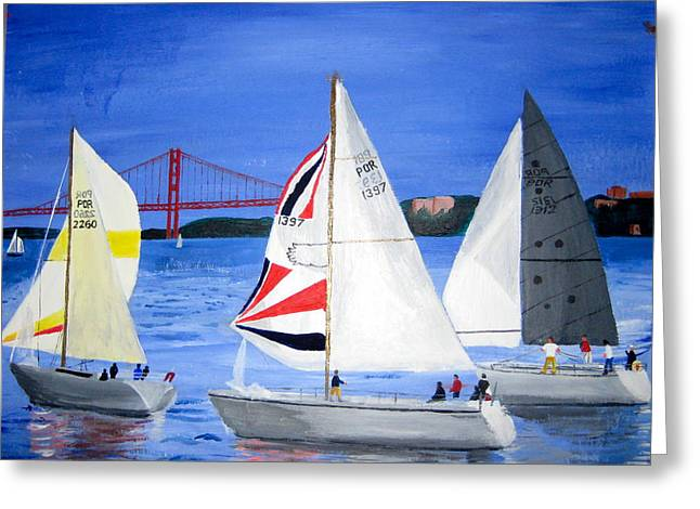 Sailboat Race In Lisbon Greeting Card