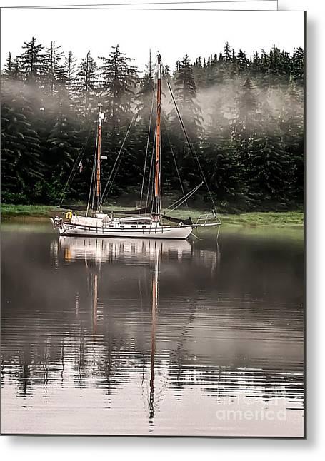 Sailboat Reflection Greeting Card by Robert Bales