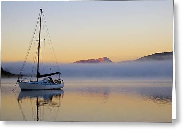 Sailboat Sunrise Te Anau Greeting Card by Venetia Featherstone-Witty